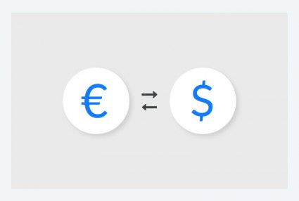 Illustration of multiple currencies - Euros to Dollars